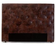 Testata del letto 160 cm ENZA - Microfibra invecchiata Marrone