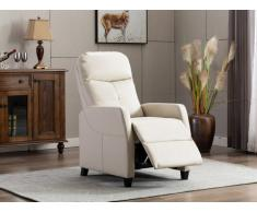 Poltrona relax in Similpelle Beige - FEREOLE