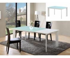 Tavolo allungabile ARIELLE - Da 6 a 8 coperti - MDF e vetro temperato - Bianco