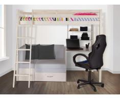Letto a soppalco GOLIATH con scrivania, divano e vani portaoggetti - 90x200cm - Abete massello - Sbiancato