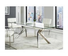 Tavolo da pranzo estensibile VELIKA - Vetro temperato e metallo - da 6 a 8 coperti