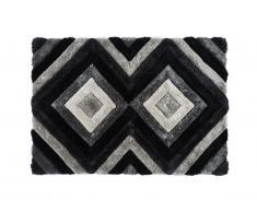 Tappeto shaggy effetto 3D SABLIER - poliestere - Grigio nero e bianco - 160x230 cm