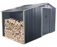 Casetta da giardino in acciaio galvanizzato grigio AGATO - 12,95 m²