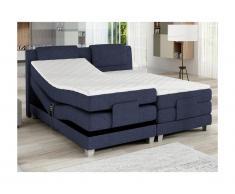 Set letto boxspring testata + reti relax elettriche + materasso + topper CASTEL di PALACIO - 2x80x200 cm - Tessuto denim