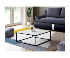 Tavolino quadrato design in Marmo e Metallo Bianco e Nero - ARETHA