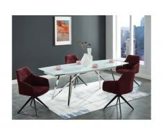 Tavolo da pranzo allungabile da 6 a 8 coperti in Vetro temperato e acciaio Bianco - KAMIRA