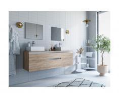 Mobili sospesi per bagno con doppio lavabo e specchi Rovere - JIMENA