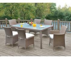 Sala da pranzo da giardino ALANDA in resina intrecciata caramello/ panna: tavolo, 2 sedie, 4 sedie