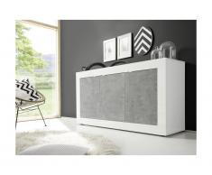 Credenza COMETE - 3 ante - Bianco laccato e calcestruzzo