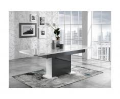 Tavolo da pranzo allungabile PERCEPTION - da 6 a 8 coperti - Grigio e Bianco