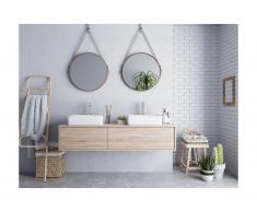 Mobili sospesi per bagno con doppio lavabo Rovere - ISAURE