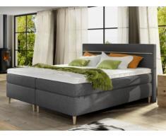 Set letto boxspring testata + rete + materasso + topper LUND di DREAMEA - tessuto grigio - 160x200 cm