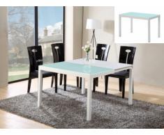 Tavolo allungabile CORINE - Da 4 a 8 coperti - MDF e vetro temperato - Bianco