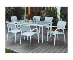 Sala da pranzo da giardino PAIA in alluminio - un tavolo + 6 poltrone - Seduta grigia