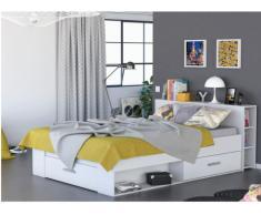Letto LEONIS con vani portaoggetti - 160x200 cm - Bianco
