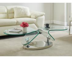 Tavolino girevole in Vetro temperato e metallo - EZEKIEL