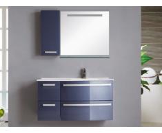Set bagno NEREIDE - Mobili + lavabo + specchio - Blu