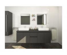 Mobili da bagno LAVITA II sospesi doppio lavabo e specchi - Grigio