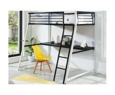 Letto a soppalco con scrivania integrata 90x190 cm Bianco e nero - MALICIA