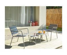 Salotto da giardino in metallo Grigio: 2 poltrone basse impilabili e 2 tavolini a scomparsa - MIRMANDE