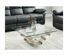 Tavolino quadrato design in Vetro temperato e metallo - CASTELLANA