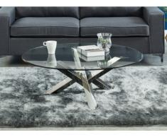 Tavolino rotondo in Vetro temperato e gambe intrecciate in acciaio - LEONORA
