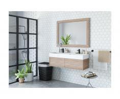 Mobili sospesi per bagno con doppio lavabo e specchio grande Rovere - VALENTINA