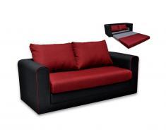 Divano letto a 2 posti in tessuto DANUBE - Nero e rosso