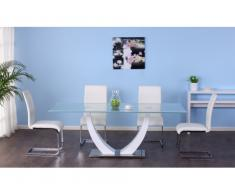 Set tavolo MEZZO + 4 sedie LIRICA - bianco