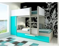 Letto a castello con letto a cassettone a scomparsa ANTONIO - 2x90x190 cm - Armadio integrato - Abete turchese e bianco