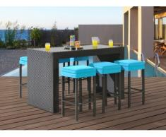 Bar e 6 sgabelli da giardino SALINA in resina intrecciata wengé e seduta turchese