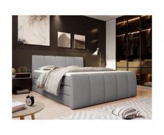 Set boxspring completo testata + base del letto con contenitore + materasso + topper VERONE - grigio chiaro - 160x200cm