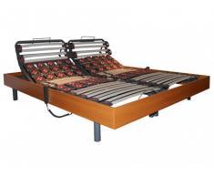 Rete relax doghe e 2x25 sospensioni deco in legno di ciliegio di DREAMEA - 2 x 80 x 200 cm - Motori OKIN