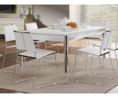 Tavolo da pranzo 4 posti con 2 cassetti Bianco e cromo - GUNNAR