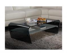 Tavolino in Vetro temperato nero Ripiano bianco laccato - KELLY