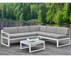 Salotto da giardino PALAOS - Tavolino e divano angolare con schienale reclinabile 6 posti - Grigio