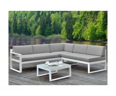 Salotto da giardino Grigio : Tavolino e divano angolare con schienale reclinabile 6 posti - PALAOS
