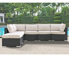 Salotto da giardino ALANDA in resina intrecciata: 1 divano a 5 posti e 1 pouf - Antracite