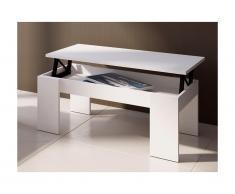 Tavolino rialzabile Legno e MDF Bianco - CARMELA