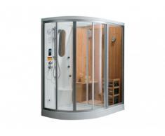 Doccia angolare idromassaggio con bagno turco e sauna HAUMEA - L 157 x P 110 x H 215 cm - Angolo a destra
