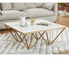 Tavolino in Ceramica effetto marmo e Metallo Bianco e Dorato - MINDI