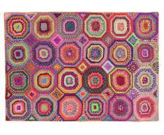 Tappeto tessuto a mano con materiali riciclati bohème-chic TAPAY - 160x230 cm - Multicolore