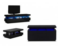 Set soggiorno luminoso: Credenza, mobile TV e tavolino FABIO - Finitura laccata nera