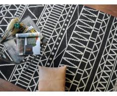 Tappeto GRIGORI - 100% lana - 160 x 230 cm - Bianco e nero