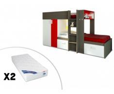 Letto a castello JULIEN - 2x90x190 cm - Armadio integrato - Taupe e rosso + 2 materassi ZEUS 90x190