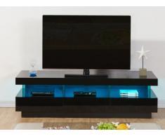 Mobile TV FABIO - MDF laccato nero - LED - 3 cassetti e 3 nicchie
