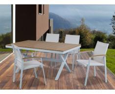 Sala da pranzo da giardino PADANG - Tavolo, 4 sedie - Bianco e alluminio colore legno