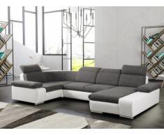 Divano letto angolare panoramico in tessuto e similpelle CYRANO - Bicolore antracite/bianco - Angolo a destra