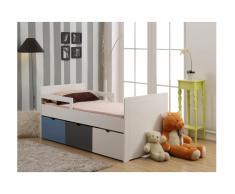 Letto singolo con 3 cassetti 90 x 190 cm in MDF bianco, grigio, blu - PILOU