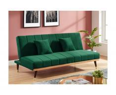 Divano 3 posti clic clac in velluto Verde scuro - KERBI
